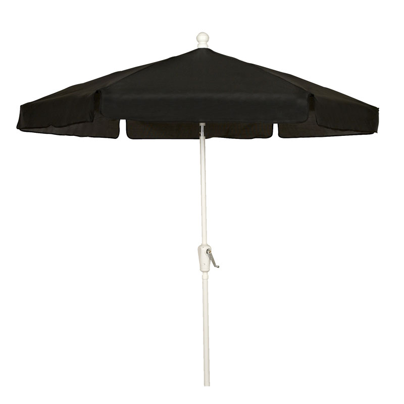 Black 7.5' Hexagon Garden Umbrella - White Finish