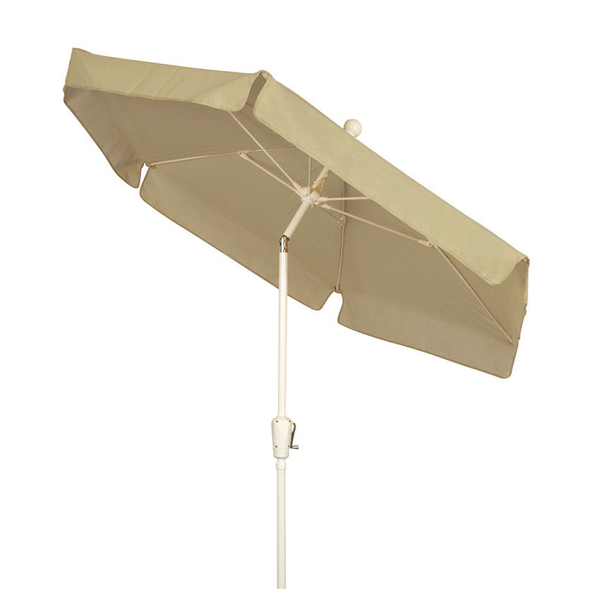 Beige Canopy Tilt Garden Umbrella - White Finish