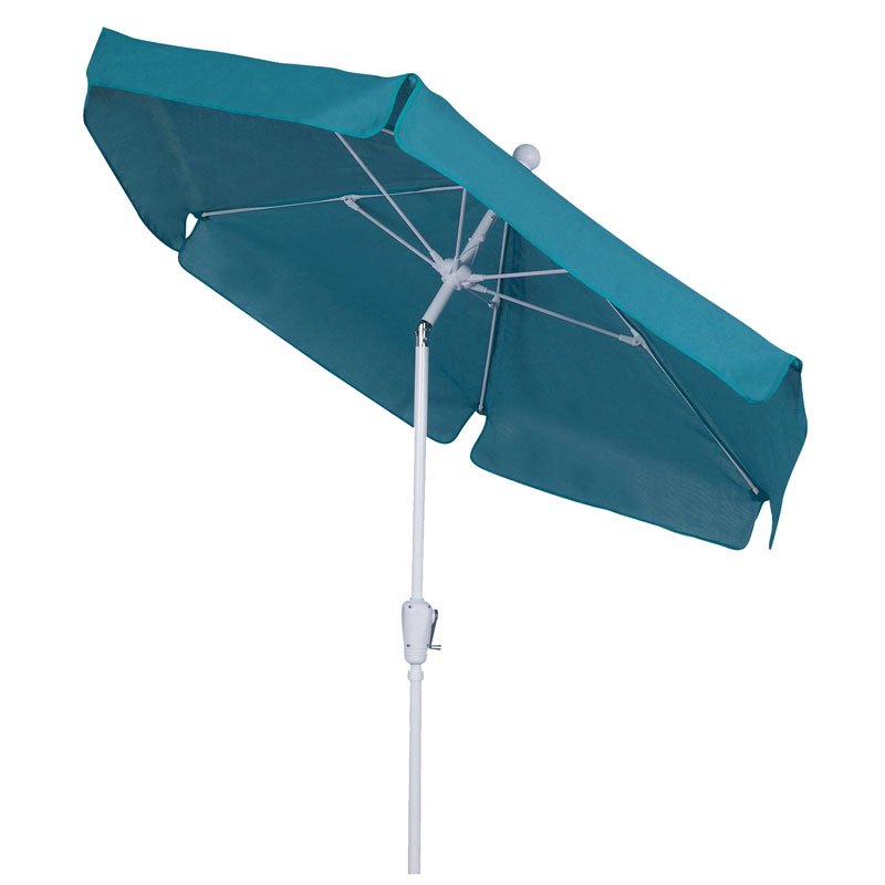 Teal Tilt Garden Umbrella - White Finish