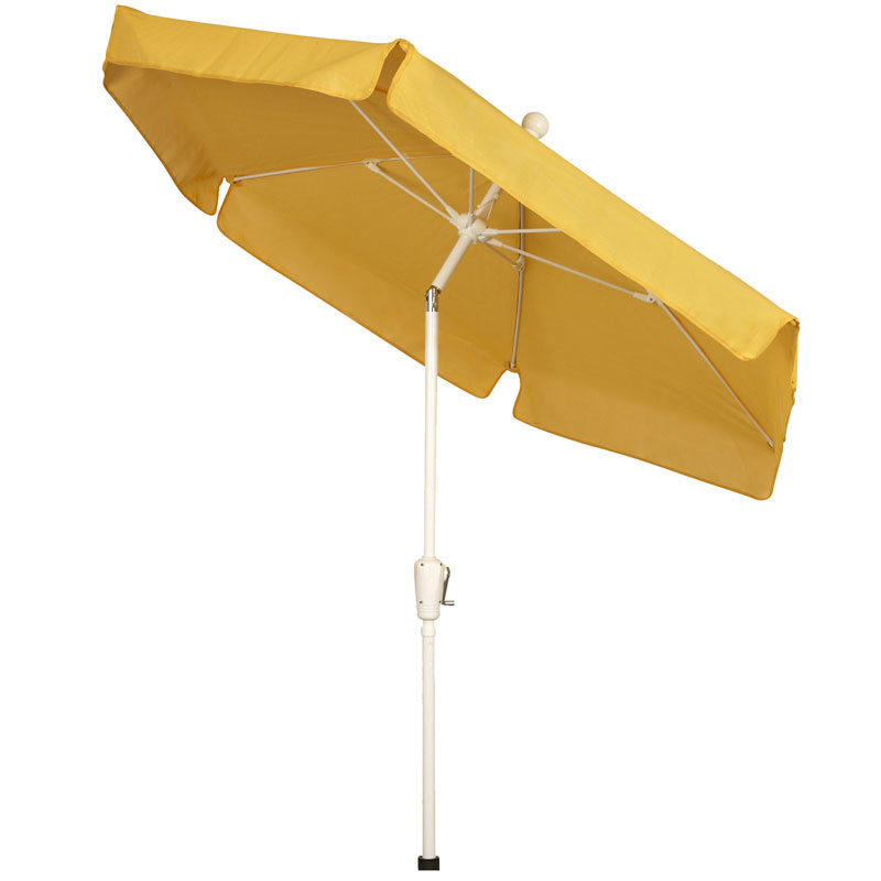 Yellow Hexagon Garden Umbrella - White Finish