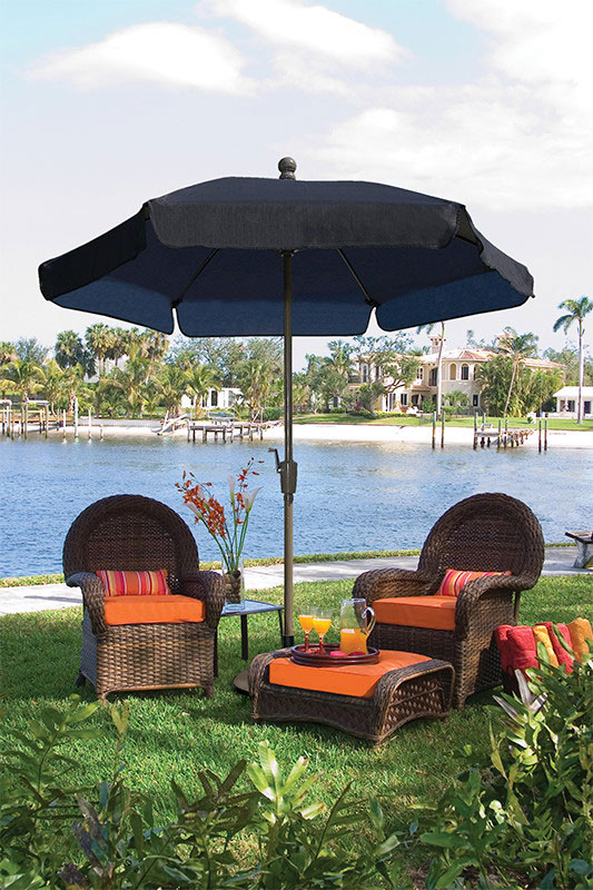 7.5' Black Garden Umbrella - Bronze Finish - Crank Lift