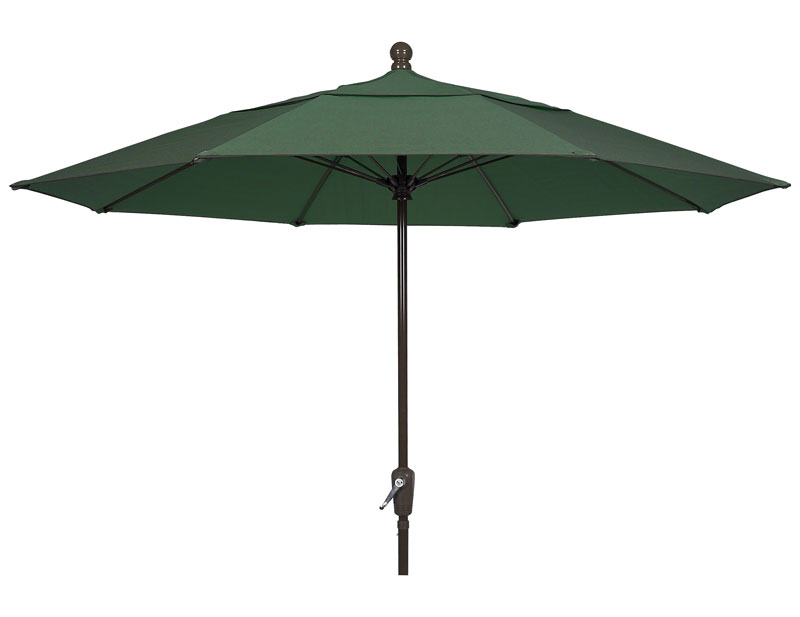 9' Forest Green Patio Umbrella - Bronze Finish - Crank Lift