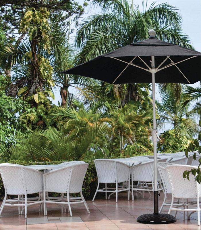 Black canopy 9 39 octagon terrace umbrella white finish for Terrace umbrellas