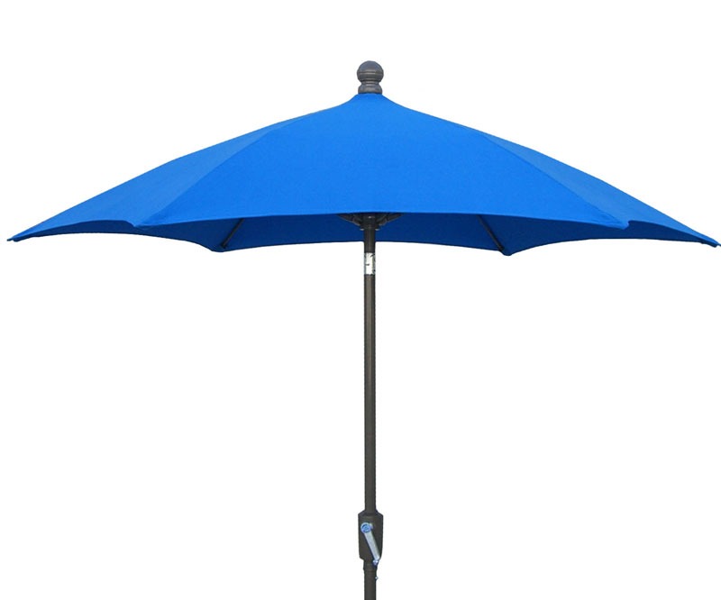 7 5 39 pacific blue hexagon terrace umbrella bronze finish for Terrace umbrellas