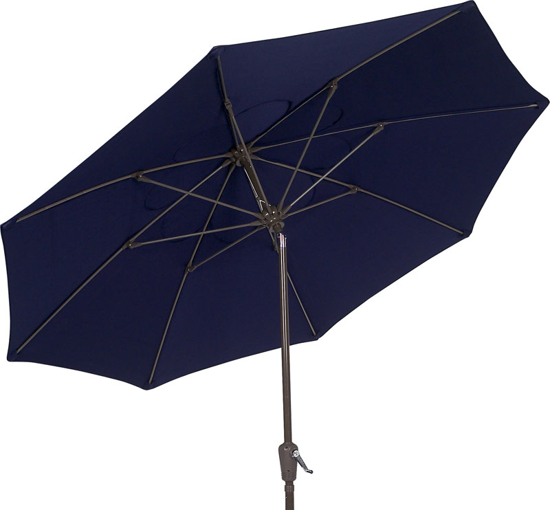 7 5 39 navy blue hexagon terrace tilt umbrella bronze finish
