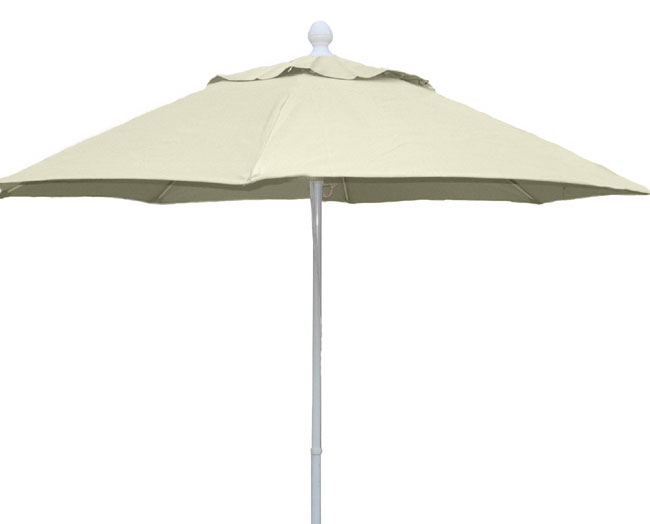 9' Natural Terrace Umbrella - White Finish - Crank Lift FB-9TCRW-NATURAL