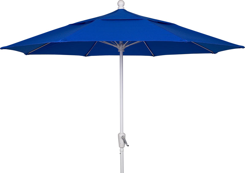 Pacific blue canopy 9 39 octagon terrace umbrella white finish for Terrace umbrellas