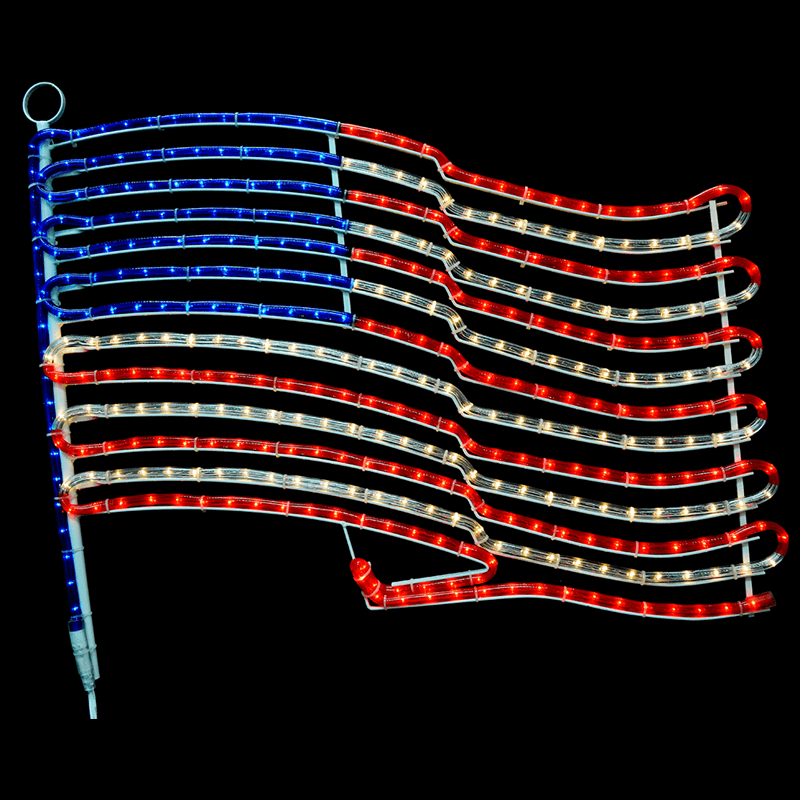 American Flag Rope Light Motif