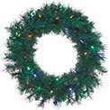 "Pre-Lit Battery-Operated LED Wreath w/Timer - 24"" - Multi-Color - 901126"