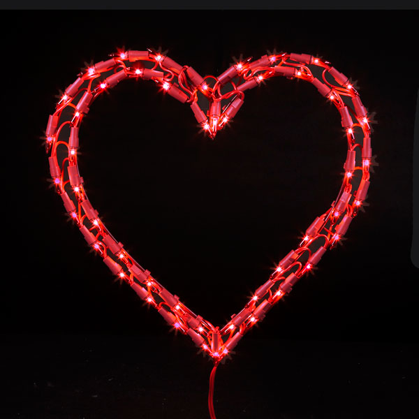 Red heart christmas light for Heart shaped decorations home