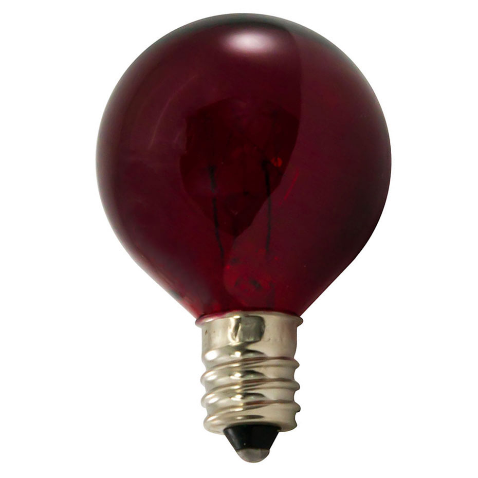 7 watt red candelabra base globe light bulb