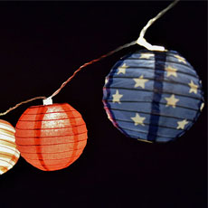 Red, White & Blue Paper Lantern Lights