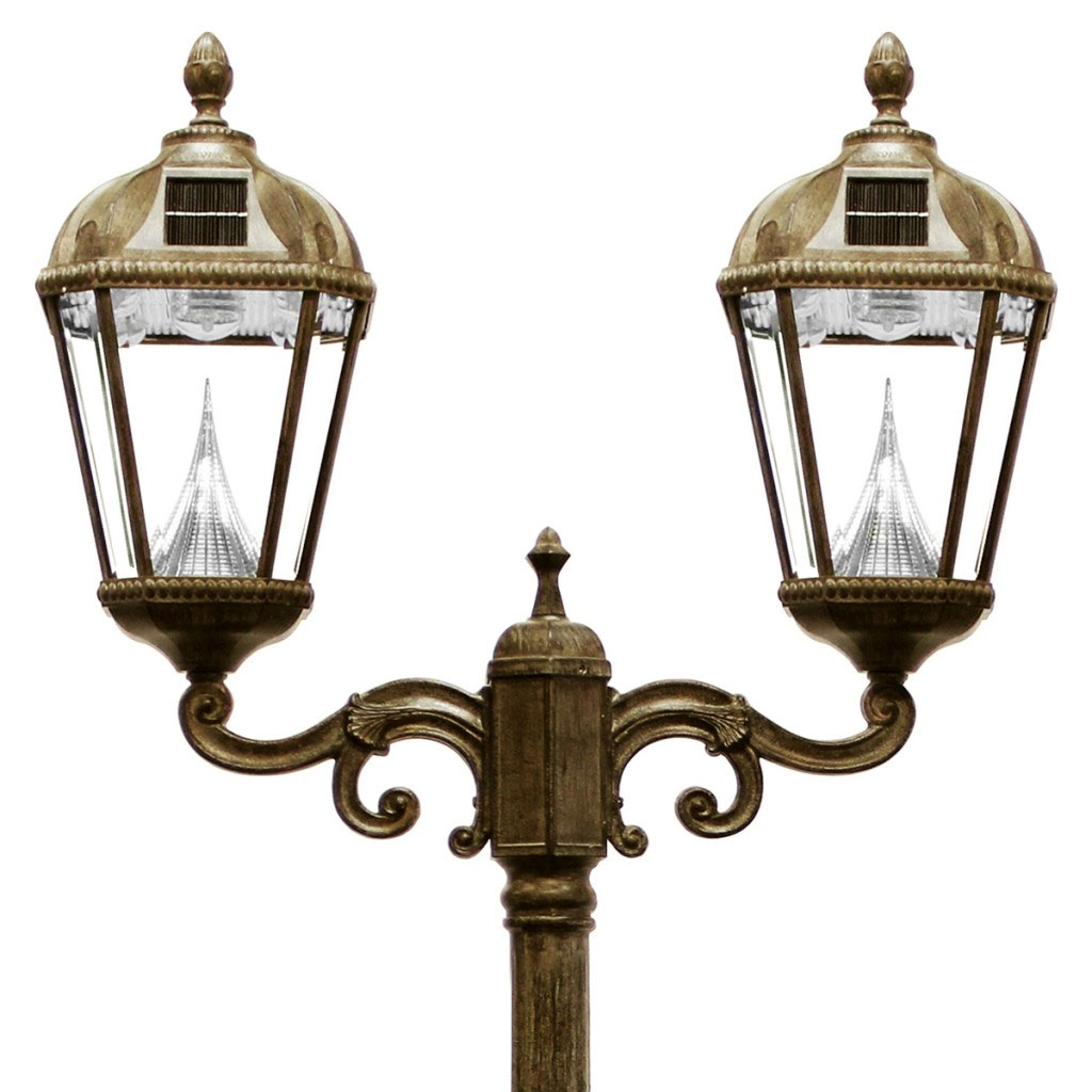 Royal Solar LED Double Lamp Post - Weathered Bronze