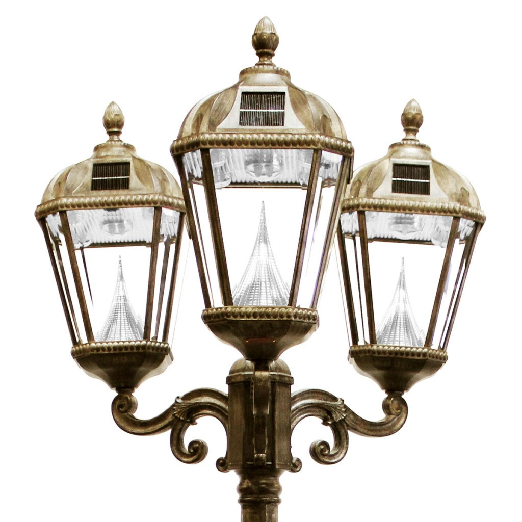 Royal Solar LED Triple Lamp Post - Weathered Bronze