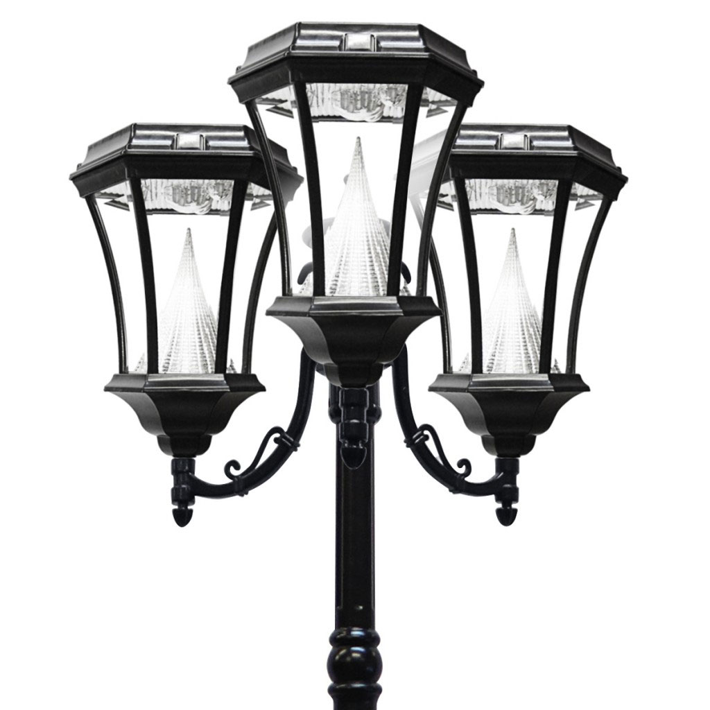 Victorian Solar LED Triple Lamp Post