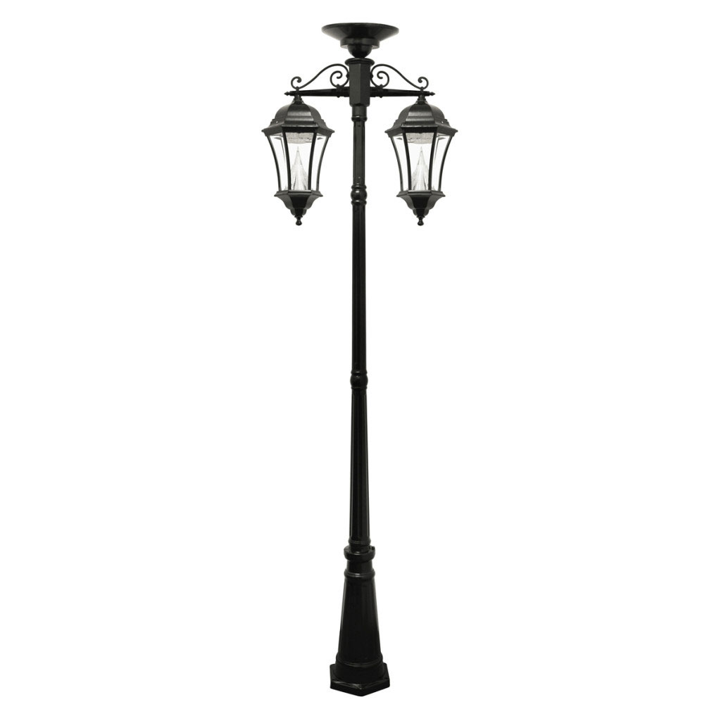 Victorian Solar Powered Double-Hanging Lamp Post