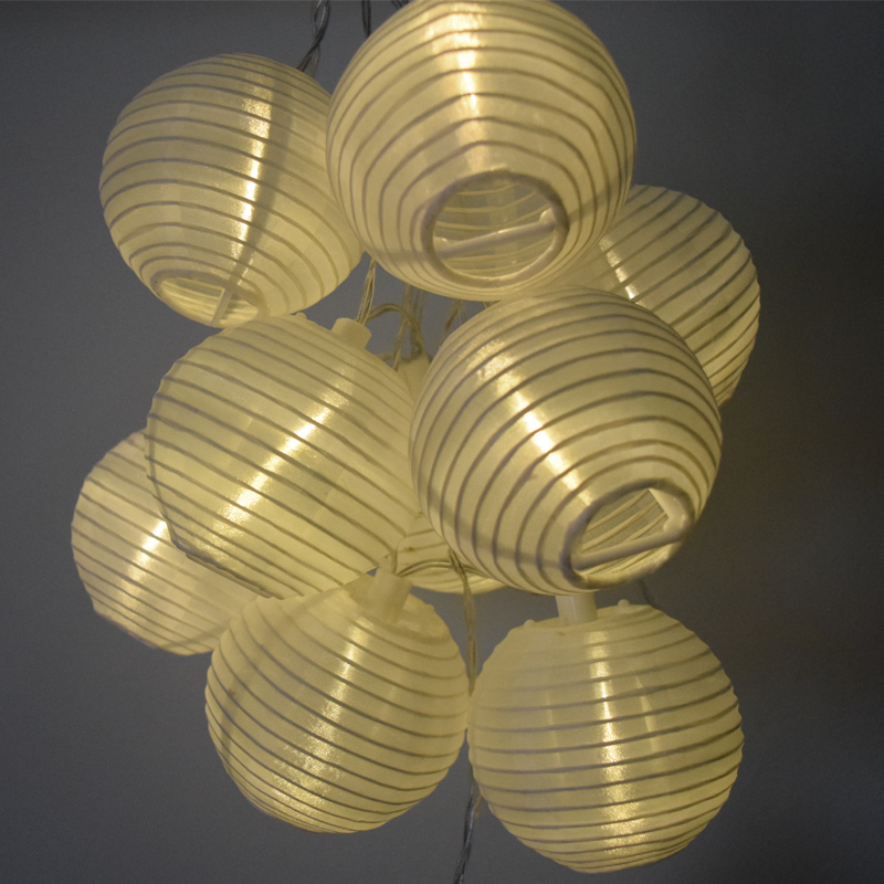 LED Solar Powered White Nylon Lantern String Lights