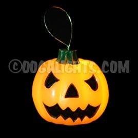 Hanging Orange Wax Halloween Pumpkin Flickering LED Light - Battery Operated Candles