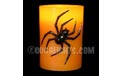 "4"" Orange Wax Halloween LED Candle w/ Black Spider - ML-31565"