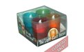 LED Flickering Flame Tea Lights w/ Glass Votive Holder - Multi-Color - 4 Pack - TLV4