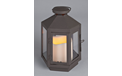 "Hexagonal Brown Flameless Candle Lantern 5.5"" x 7.75"" - Timer - GC37822"