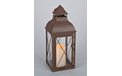 "Rustic Brown Flameless Candle Lantern 6.75"" x 17' - With Timer - GC37820"