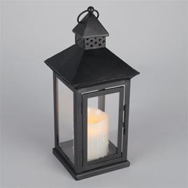 LED Metal & Resin Battery Operated Flameless Candle Lantern w/ Timer - Indoor/Outdoor - Black Square Lantern - Battery Powered Candle Lanterns
