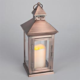 LED Metal & Resin Battery Operated Flameless Candle Lantern w ...