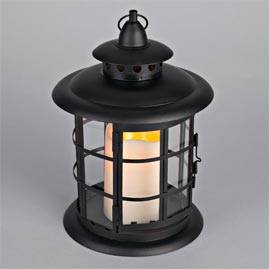 LED Metal & Resin Battery Operated Flameless Candle Lantern w/ Timer - Indoor/Outdoor - Black Round Lantern - Battery Powered Candle Lanterns