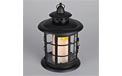 LED Metal & Resin Battery Operated Flameless Candle Lantern w/ Timer - Indoor/Outdoor - Black Round Lantern