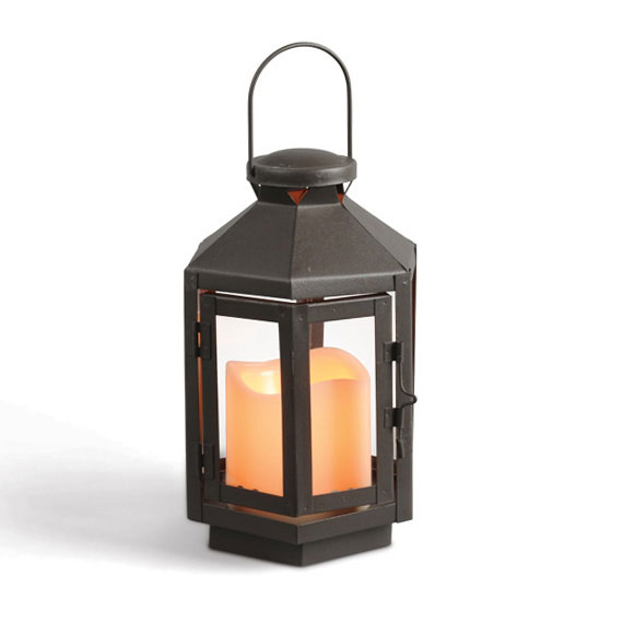 Hexagonal Brown Flameless Candle Lantern