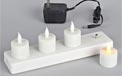 LED Rechargeable Battery Operated Flickering Flame Votive Candle - 4 Pack - White Candle - GC35986