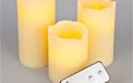 LED Remote Controlled Battery Operated Flickering Flame Round Pillar Candle Set - Real Wax - 3 Pack - Ivory Candle - GC30468