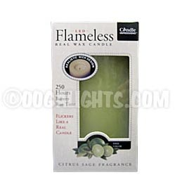 "4"" LED Round Sage Green Scented Flameless Pillar Candle - Citrus Sage Fragrance - Battery Operated Candles"