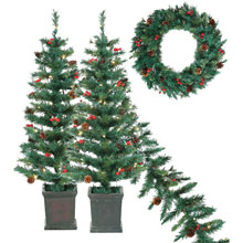S/4 Pre-Lit Tree, Garland and Wreath Set