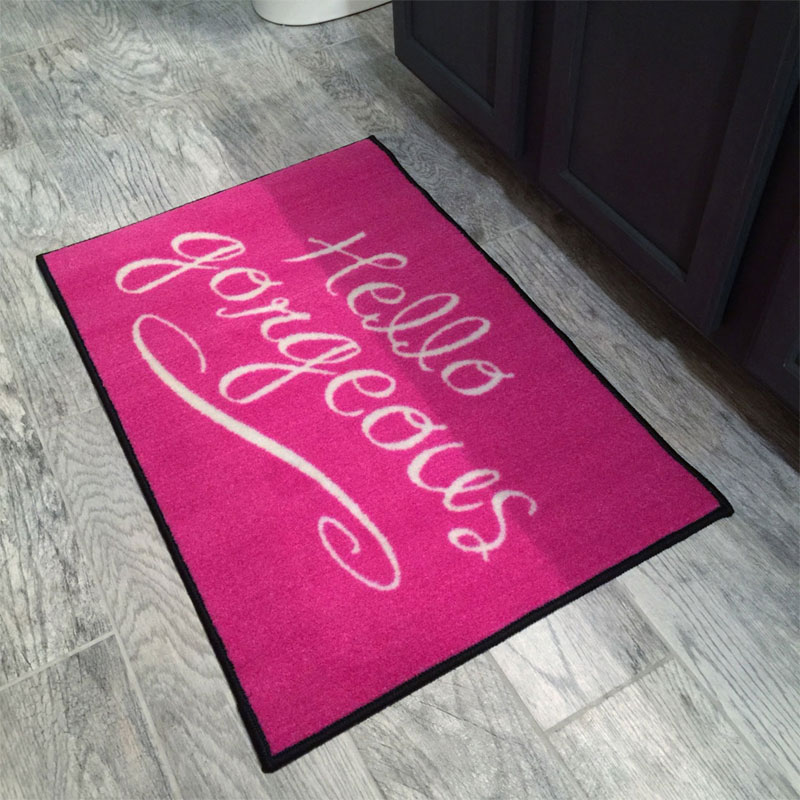 Pink hello gorgeous welcome novelty door mat - Novelty welcome mats ...