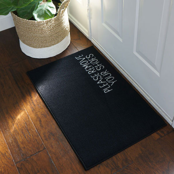 Please Remove Your Shoes Message Doormat - Black