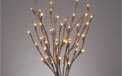 "LED Lighted Branches - (1) 20"" Brown Branch - Battery Operated w/ Timer - 60 Warm White LED Lights"
