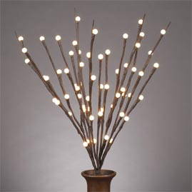 "LED Lighted Branches - (1) 20"" Brown Branch - Battery Operated w/ Timer - 60 Warm White Ball LED Lights - Decorative LED Lights"