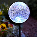 "MOONRAYS Solar LED Color Changing Crackle Glass Ball - 17"" High - MR-99924"
