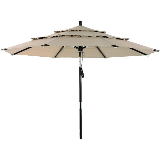 3 Tier Dark Wood Patio Umbrella