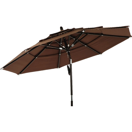 3 Tier Brown Canopy Patio Umbrella