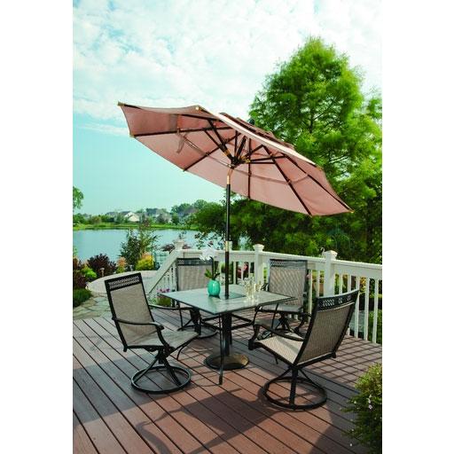 Outdoor Patio Umbrellas Coupon Codes: 3-Tier Dark Wood Patio Umbrella