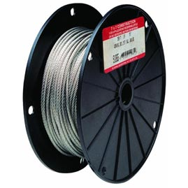 Uncoated Galvanized Steel Cable - 500' Long - 1/16