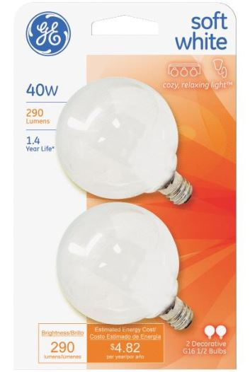 GE G16.5 Candelabra Base Light Bulb - 40W