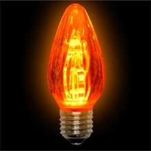LED F15 Plastic Flame Bulb - Amber/E26 Base                  LI-LEDF15-AM