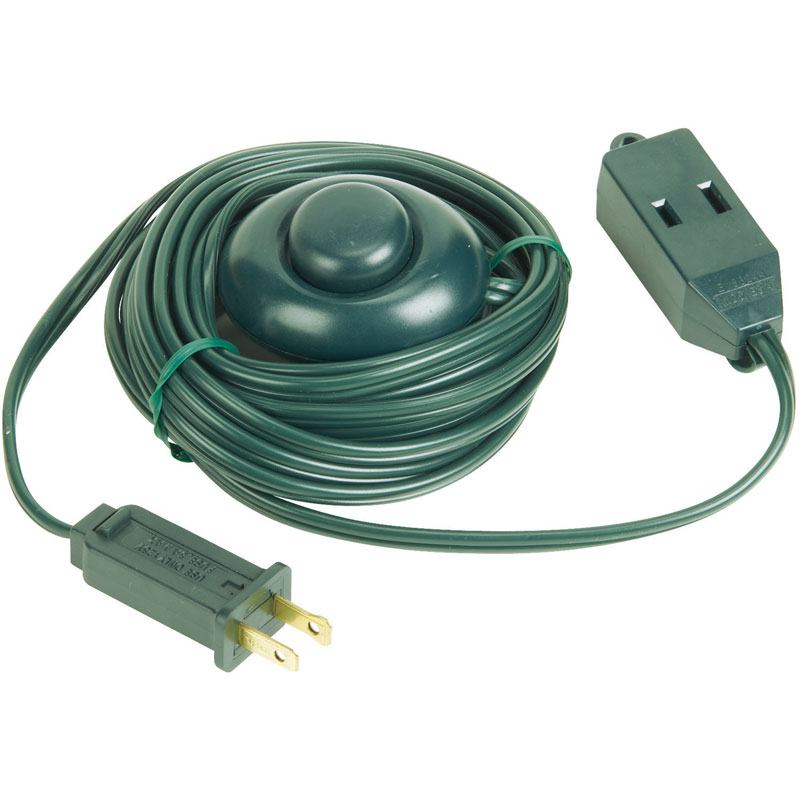 15\' Extension Power Cord w/ ON/OFF Foot Press Switch - Green Cord ...