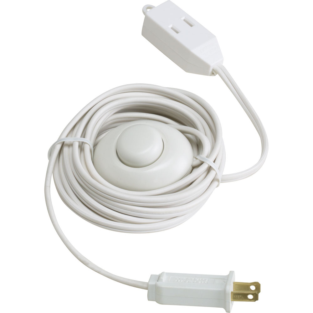 15' White Extension Power Cord w/ ON/OFF Foot Press Switch