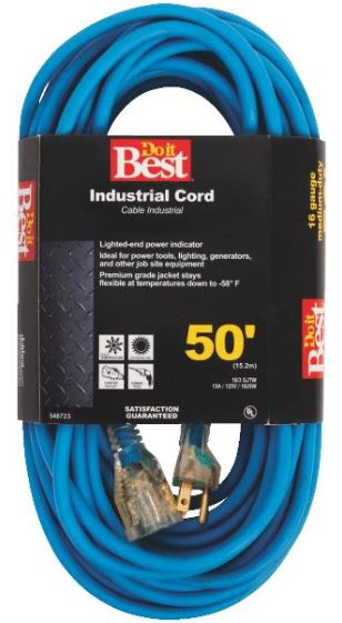 50' Cold Temperature Extension Power Cord - 16/3 - Blue