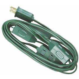 15' Christmas Tree Light Extension Power Cord - (3) 3-outlet Taps - Extension Cords & Plugs